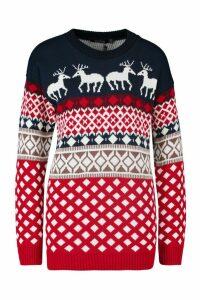 Womens Contrast Festive Print Reindeers Christmas Jumper - navy - M/L, Navy