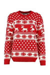 Womens Reindeers & Snowflake Christmas Jumper - red - S/M, Red