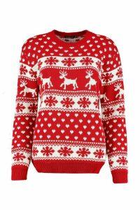 Womens Reindeers & Snowflake Christmas Jumper - red - M/L, Red