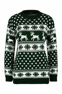 Womens Reindeers & Snowflake Christmas Jumper - green - S/M, Green