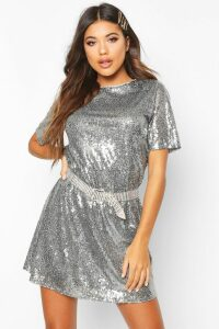 Womens Boutique Sequin T-Shirt Dress - Grey - 14, Grey