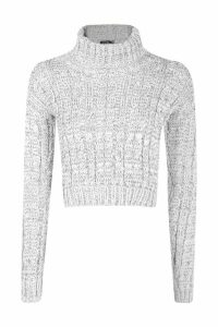 Womens Marl Cable Knit Chunky Crop Jumper - grey - M/L, Grey