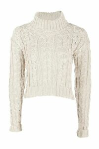 Womens Marl Cable Knit Chunky Crop Jumper - beige - M/L, Beige