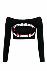 Womens Petite Emma Teeth Print Halloween Crop - black - 14, Black