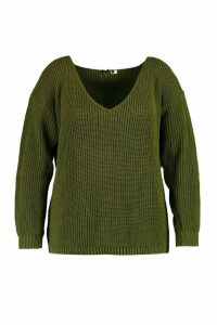 Womens Plus Oversized V Neck Jumper - Green - 26, Green