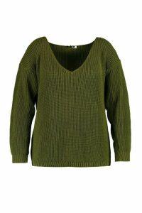 Womens Plus Oversized V Neck Jumper - green - 24, Green