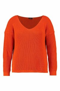 Womens Plus Oversized V Neck Jumper - Orange - 26, Orange
