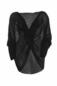 Womens Plus Wrap Front Knitted Jumper - black - 18, Black