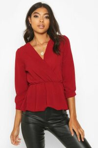 Womens Tall Wrap Peplum Blouse - red - 8, Red