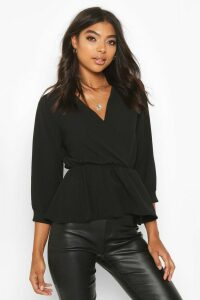 Womens Tall Wrap Peplum Blouse - black - 10, Black