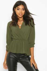 Womens Tall Wrap Peplum Blouse - green - 16, Green