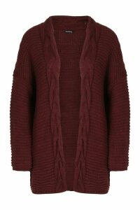 Womens Tall Cable Chunky Cardigan - red - S/M, Red