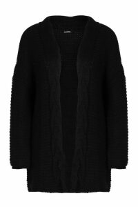 Womens Tall Cable Chunky Cardigan - black - M/L, Black