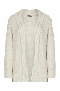 Womens Tall Cable Chunky Cardigan - white - M/L, White