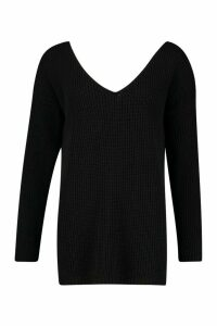 Womens Tall V-Neck Jumper - black - S/M, Black