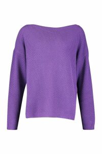 Womens Tall Pearl Knit Slash Neck Jumper - purple - XL, Purple