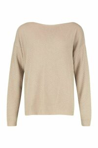 Womens Tall Pearl Knit Slash Neck Jumper - beige - M, Beige