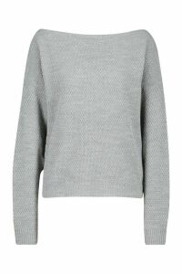 Womens Tall Slash Neck Pearl Knit Crop Jumper - grey - XL, Grey