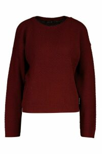 Womens Tall Crew Neck Pearl Knit Crop Jumper - red - M, Red