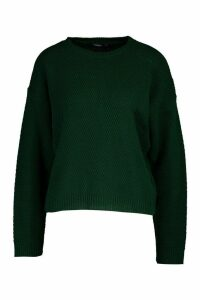 Womens Tall Crew Neck Pearl Knit Crop Jumper - green - M, Green