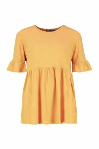 Womens Tall Rib Smock Top - yellow - 10, Yellow