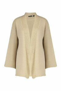 Womens Tall Wide Sleeve Edge to Edge Cardigan - beige - M/L, Beige