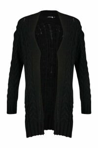 Womens Tall Soft Knit Cable Cardigan - black - M/L, Black