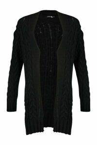 Womens Tall Soft Knit Cable Cardigan - black - M/L, Black