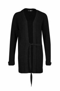 Womens Tall Tie Front Cardigan - black - M/L, Black