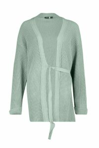 Womens Tall Tie Front Cardigan - green - M/L, Green