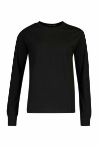 Womens Tall Cotton Long Sleeve T-Shirt - black - 12, Black