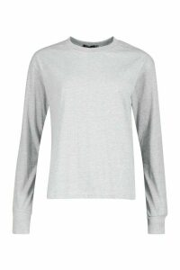 Womens Tall Cotton Long Sleeve T-Shirt - grey - 10, Grey