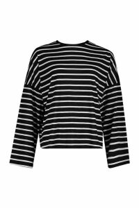 Womens Tall Cotton Stripe Flared Sleeve Top - black - 10, Black