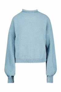 Womens Tall Chunky Funnel Neck Jumper - dusty blue - L, Dusty Blue