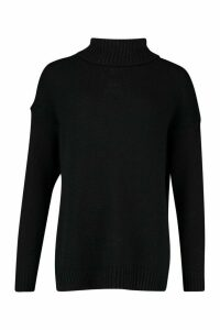 Womens Tall Oversized Roll Neck Laguna Jumper - black - S, Black