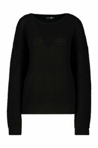 Womens Tall Crew Neck Jumper - black - S, Black
