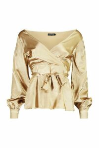 Womens Tall Off The Shoulder Satin Blouse - metallics - 12, Metallics