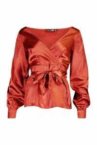 Womens Tall Off The Shoulder Satin Blouse - orange - 10, Orange
