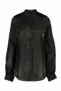 Womens Tall Deep Cuff Woven Metallic Shirt - black - 10, Black
