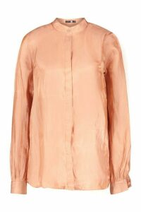 Womens Tall Deep Cuff Woven Metallic Shirt - pink - 10, Pink