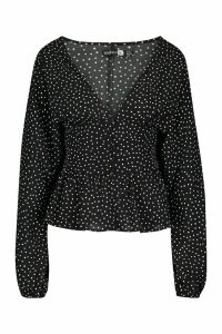Womens Tall Plunge Polka Dot Smock Top - black - 14, Black