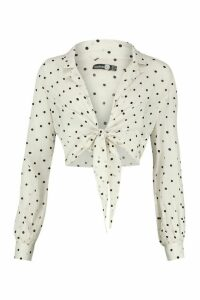 Womens Tall Sheer Polka Dot Tie Front Shirt - white - 14, White