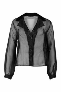 Womens Tall Organza Mesh Blouson Sleeve Shirt - black - 14, Black