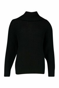 Womens Tall Oversized Roll Neck Jumper - black - S, Black