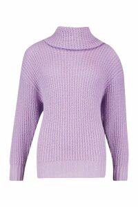 Womens Tall Oversized Roll Neck Jumper - purple - L, Purple