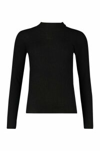 Womens Tall Ribbed roll/polo neck Jumper - black - XS, Black