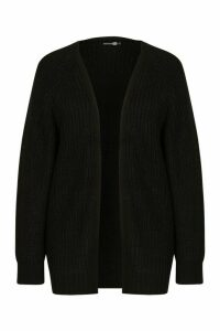Womens Tall Chunky Fisherman Knit Cardigan - black - M/L, Black
