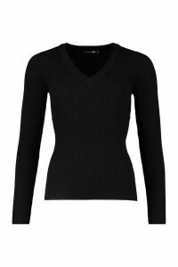 Womens Tall Ribbed V-Neck Jumper - black - L, Black