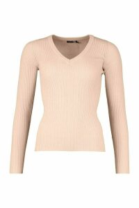Womens Tall Ribbed V-Neck Jumper - pink - S, Pink
