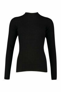 Womens Tall Ribbed roll/polo neck Jumper - black - M, Black